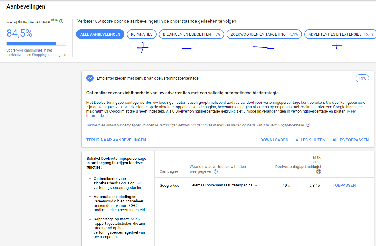 Optimalisatiescore in Google Ads: leidraad of doelstelling?
